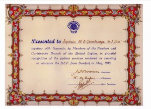 Dunkirk Evacuation Certificate
